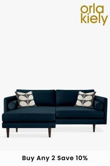 Orla Kiely Blue Mimosa Large Chaise Sofa