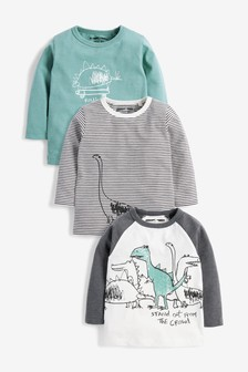 3 Pack Long Sleeve Dinosaur T-Shirts (3mths-7yrs)