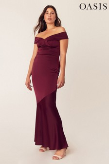 Oasis Red Bardot Slinky Maxi Dress*