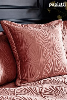 Riva Paoletti Pink Palmeria Quilted Cushion