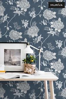 Muriva Blue Darcy James Rosalind Wallpaper