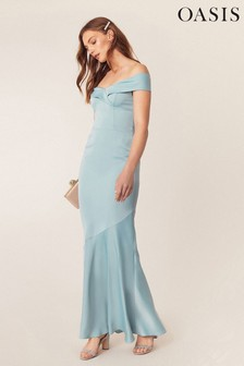 Oasis Green Bardot Slinky Maxi Dress*