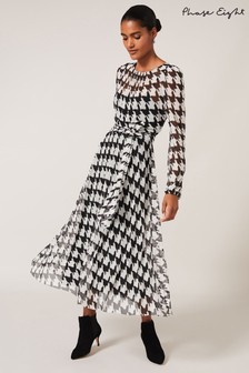Phase Eight Black Raina Houndstooth Pleated Mesh Dress