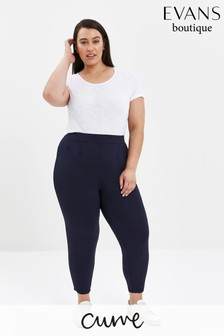 Evans Curve Navy Stretch Tapered Trousers