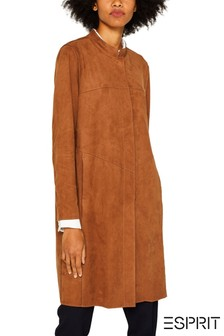 Esprit Brown Coat In Faux Suede