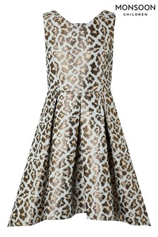 Monsoon Blue Margot Animal Jacquard Prom Dress