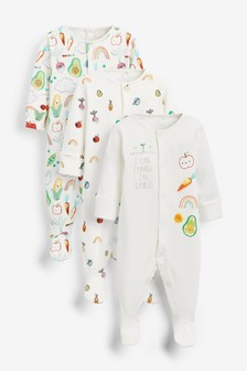 3 Pack Essential White Unisex Baby Sleepsuits