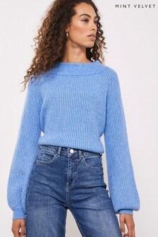 Mint Velvet Blue Chunky Stitch Knit Jumper