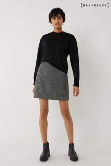 Warehouse Black Woven Pocket Pelmet Mini Skirt
