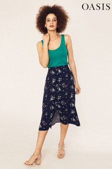Oasis Blue Susan Spriggy Split Skirt