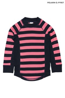 Polarn O. Pyret Pink Striped Thermal Top