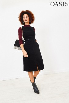Oasis Black Cord Split Front Dress