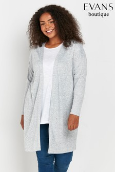 Evans Curve Grey Soft Touch Cardigan