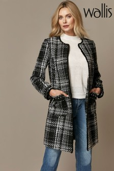 Wallis Mono Check Collarless Coat