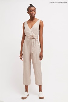 French Connection Natural Briella Linen Blend Jumpsuit