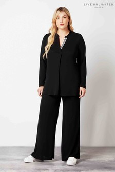 Live Unlimited Black French Crepe Trousers