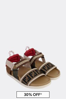 Kids Beige Leather Sandals