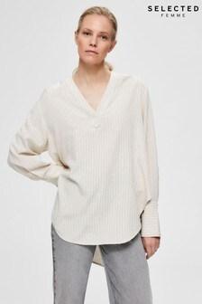 Selected Femme Cream Linen Stripe Tunic Top