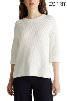 Esprit Natural Short Sleeve Sweater With Round Neck And Longer Back