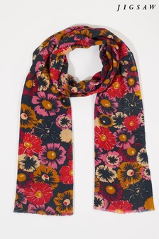 Jigsaw Red Wildflower Silk Wool Scarf