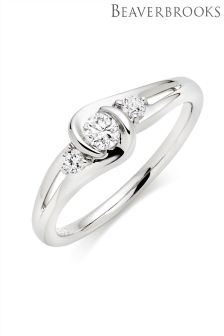 Beaverbrooks 9ct White Gold Diamond Three Stone Ring