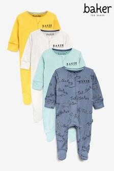 Baker by Ted Baker Dogprint Short Sleeve Bodysuit 4 Pack