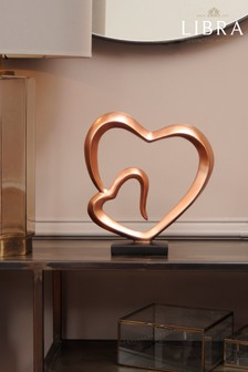 Libra Double Heart Rose Gold Sculpture