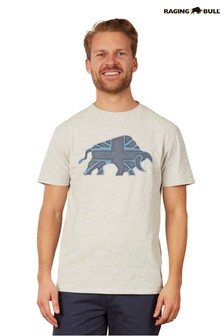 Raging Bull Grey Embroidered Bull T-Shirt