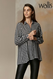 Wallis Black Mono Dogtooth Hi-Low Shirt