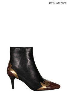 Sofie Schnoor Black Leather Flame Ankle Boots