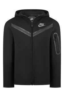 Nike Boys Black Tech Fleece Hooded Zip Up Top