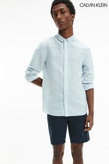 Calvin Klein Blue Slim Fit Cotton Linen Shirt