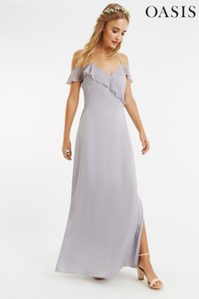 Oasis Grey Ruffle Satin Maxi Dress*