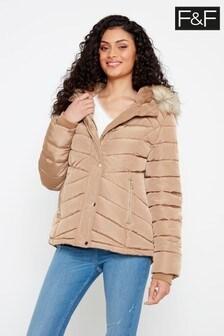 F&F Camel Short Padded Coat