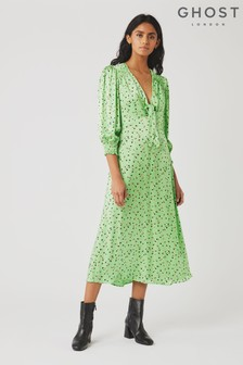 Ghost London Green Lottie Ditsy Print Satin Dress