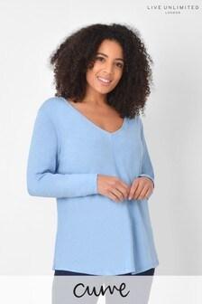 Live Unlimited Curve Washed Blue Long Sleeve V-Neck T-Shirt