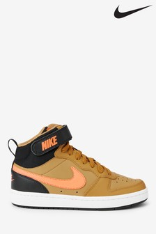 Nike Orange/Black Court Borough Hi Youth Trainers