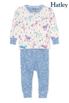 Hatley Cream Playful Ponies Organic Cotton Baby Pyjama Set