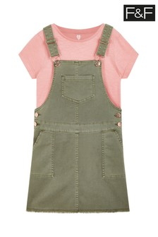 F&F Khaki Denim Pinny And Top Set