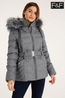 F&F Grey Short Padded Texture Coat
