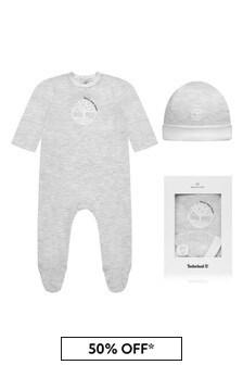 Timberland Baby Grey Cotton Babygrow Gift Set