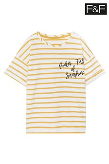 F&F Yellow Sunshine Pocket Stripe Slogan T-Shirt