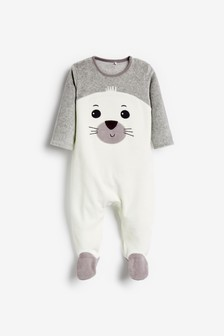 Seal Velour Sleepsuit (0-18mths)