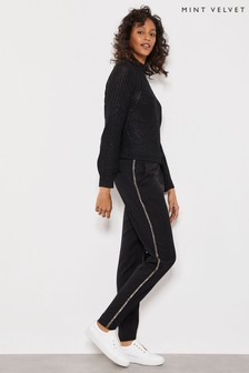 Mint Velvet Black Embellished Side Joggers