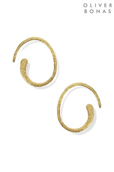 Oliver Bonas Gold Plated Curved Textured Thread Hoop Earrings