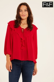 F&F Red Ruffle Blouse