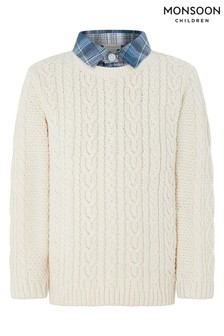 Monsoon Children Ivory 2 In 1 Cable Knit Jumper