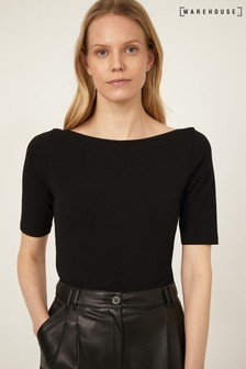 Warehouse Black Short Sleeve Boat Neck Top