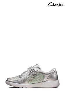 Clarks Silver Metallic Scape Spirit K Velcro Shoes