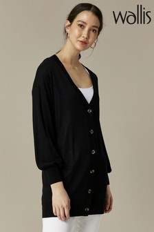 Wallis Black Boyfriend Button Through Cardigan